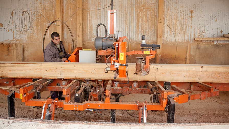 With the help of sawmills the monastery mills logs from own forests