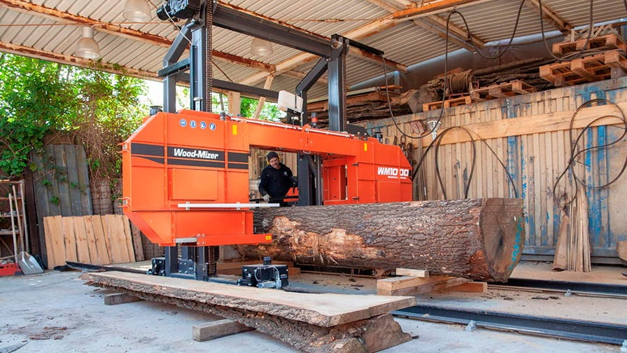 The Wood-Mizer WM1000 sawmill at Lehmundo workshop