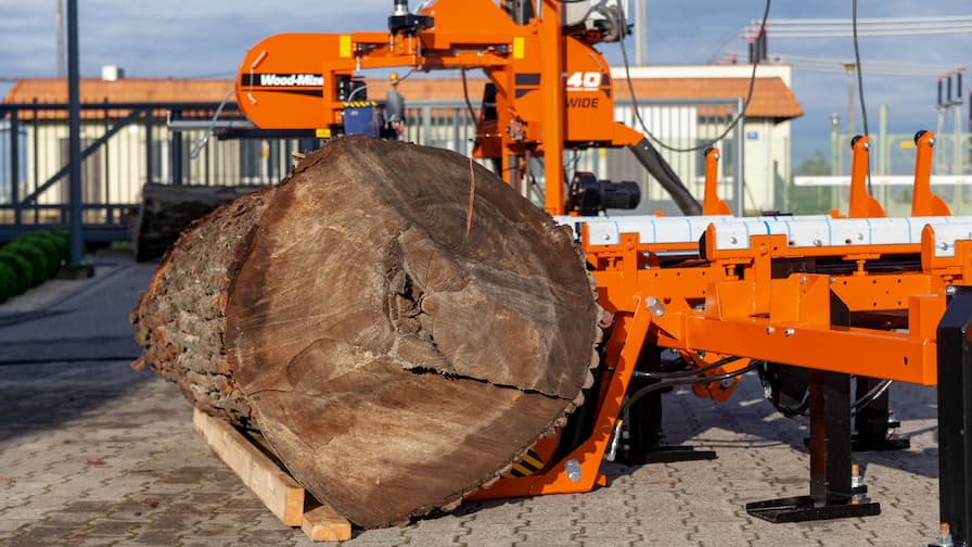 Trak taśmowy LT40WIDE zaprojektowany do przecierania szerokich kłód (do 100 cm szerokości)