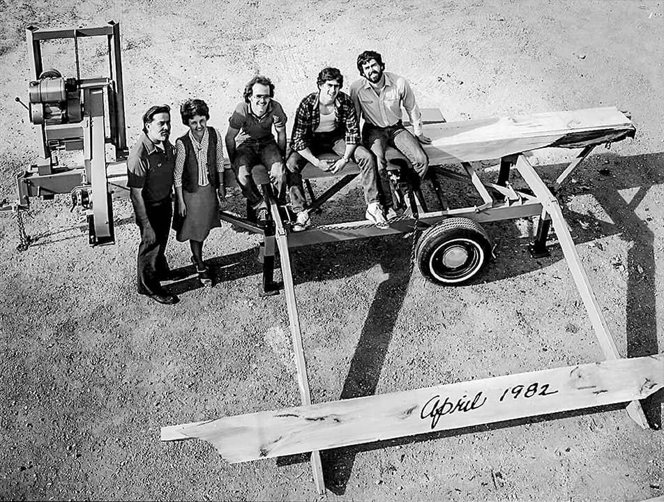 Rodzina Laskowskich i pierwszy trak Wood-Mizer, 1982 rok
